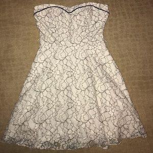 Black & White strapless dress w/ flower stitching